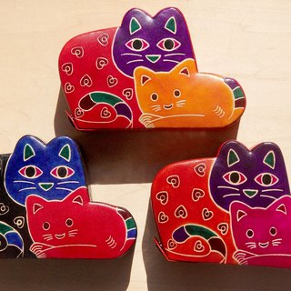 Christmas gifts handmade suede piggy banks / Hand-painted style leather wallet - forest wind two cats (tri-color pick)