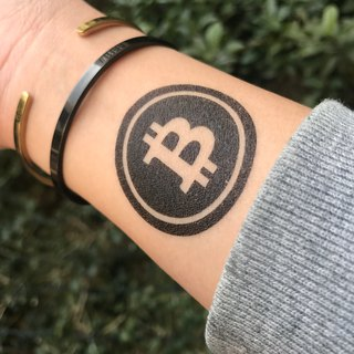 TOOD Tattoo Sticker | Wrist Location Bitcoin Bitcoin Logo Virtual Encryption Currency Tattoo Sticker (2 pieces)