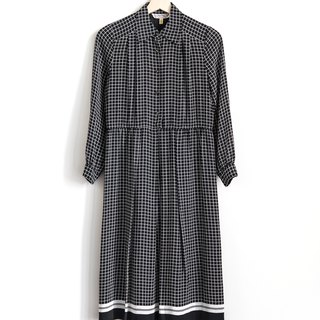 Vintage Plaid Daily Vintage Long Sleeve Dress