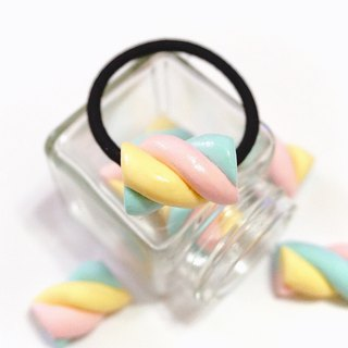 Girl pink cotton candy hair ring | simulation sweets clay hair ring