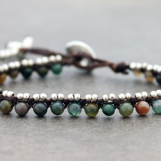 Macrame Stone Bracelets  Men Women Fancy Jasper Silver Stone Beaded Bracelets