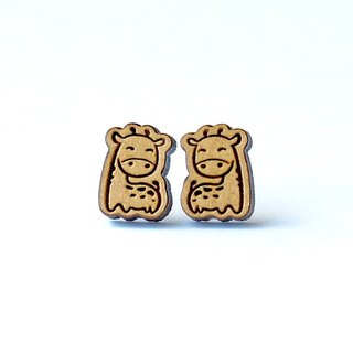 Plain wood earrings-giraffe
