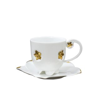 1300 + Bauhinia coffee cup group _ fine porcelain