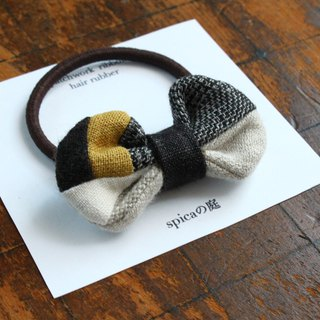 Hair accessary of a patchwork ribbon wool linen