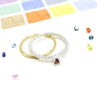 Ring twist small drill claw ring + round wire ring sterling silver ring (double piece group - optional color)
