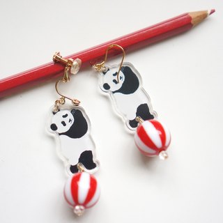 |molamolasola| Panda and his ball earrings/ear clip