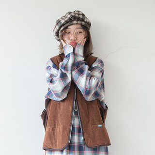 Blue and white red, yellow and green lines staggered French long version pullover plaid shirt