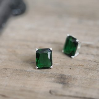 Emerald square earrings silver 925