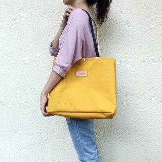 Leather combination large tote canvas bag / yellow