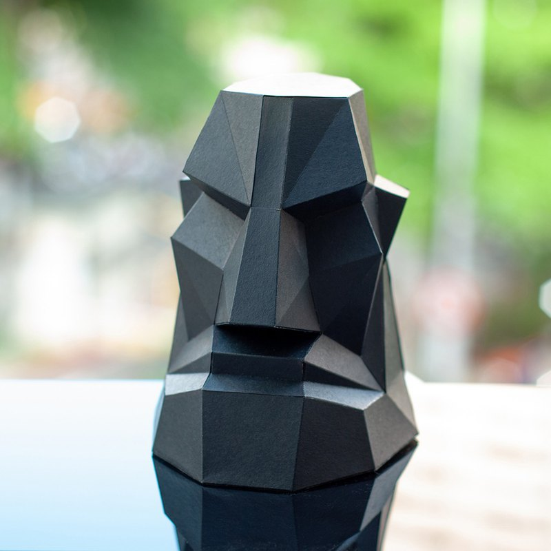 DIY手作3D紙模型擺飾 摩艾系列 -氣噗噗摩艾 (4色可選)