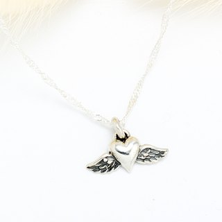 Angel's Wings Heart Love s925 sterling silver necklace Valentine's Day gift