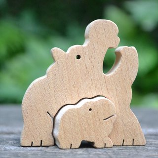 Hippopotamus mother with baby walking ★ handmade wood