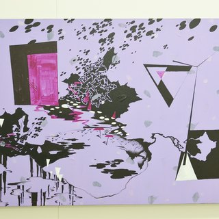 Daphne HC Shen Purple Geometry Architecture Western Abstract Puff Style Acrylic Paintings