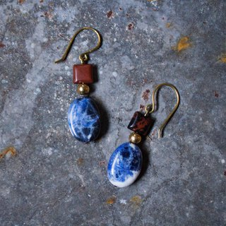 Red Stone Blue Stone Earrings - Clip-On Earrings