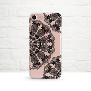 Lace Doily, Black, Clear Soft Case, iPhone X, iphone8, iPhone 7, iPhone 7 plus, iPhone 6, iPhone SE, Samsung