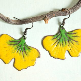 Ginkgo Biloba Enamel Earrings,