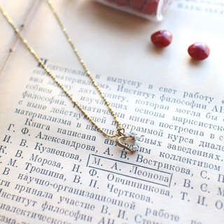 The heart-Zircon brass handmade necklace
