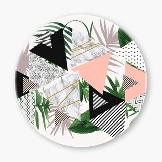 Snupped Ceramic Coaster - geometric patterns with plants and marble