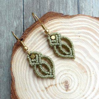 Misssheep-B02 Grass Green Wax Braided Brass Earrings