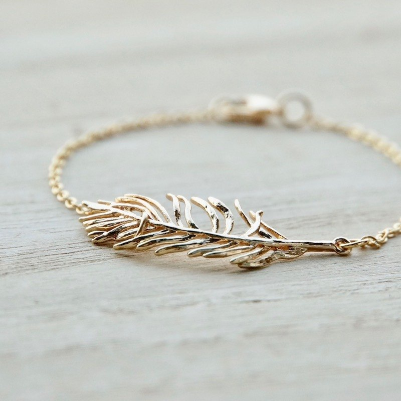 ITS-952 [minimalist series, flying to the sky] feather pendant / copper plated bracelet.