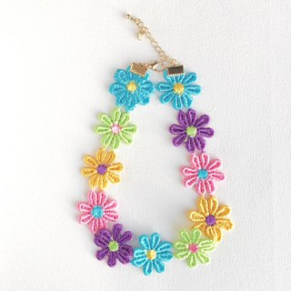 House of Cats Handmade Colorful Flowers Lace Collar