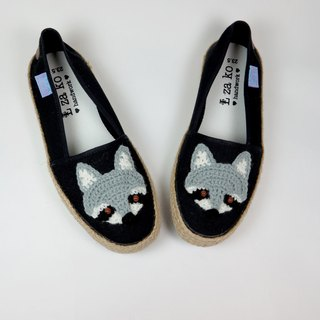 Black cotton canvas hand made shoes raccoon models have a woven section