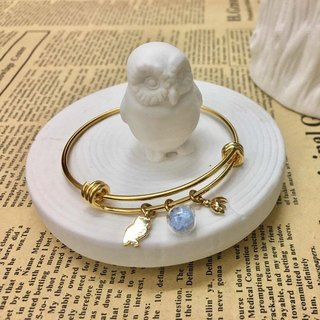 Power of the Forest Owl Ladybug Luminous Glass Ball Golden Steel Bracelet Christmas Gift