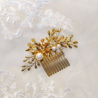 Wearing a happy rice ear series - bridal hair comb. French comb. Self-service wedding - love release