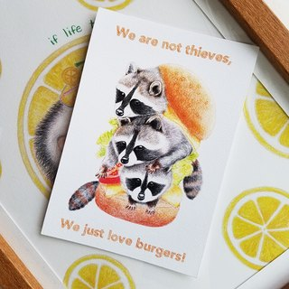Postcard - a small raccoon three brothers
