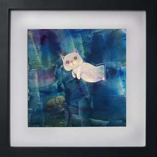 Replicating paintings - cats floating in another space, is it going to swim (Christmas gifts, home furnishings)