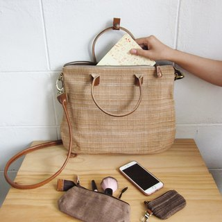 Crossbody Curve Bags Hand woven and Botanical dyed Cotton Natural-Tan Color 斜背包