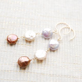 3 color of coin pearl earrings (14kgf)