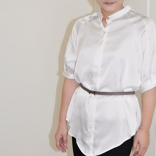 Flat 135 X Taiwan Designer Five-Sleeve Top White Glossy Cloth Shirt Top