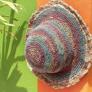 Valentine's Day handmade cotton linen / weaving hat / fisherman hat / sun hat / straw hat / straw hat - child fun forest wind lace colorful stripes