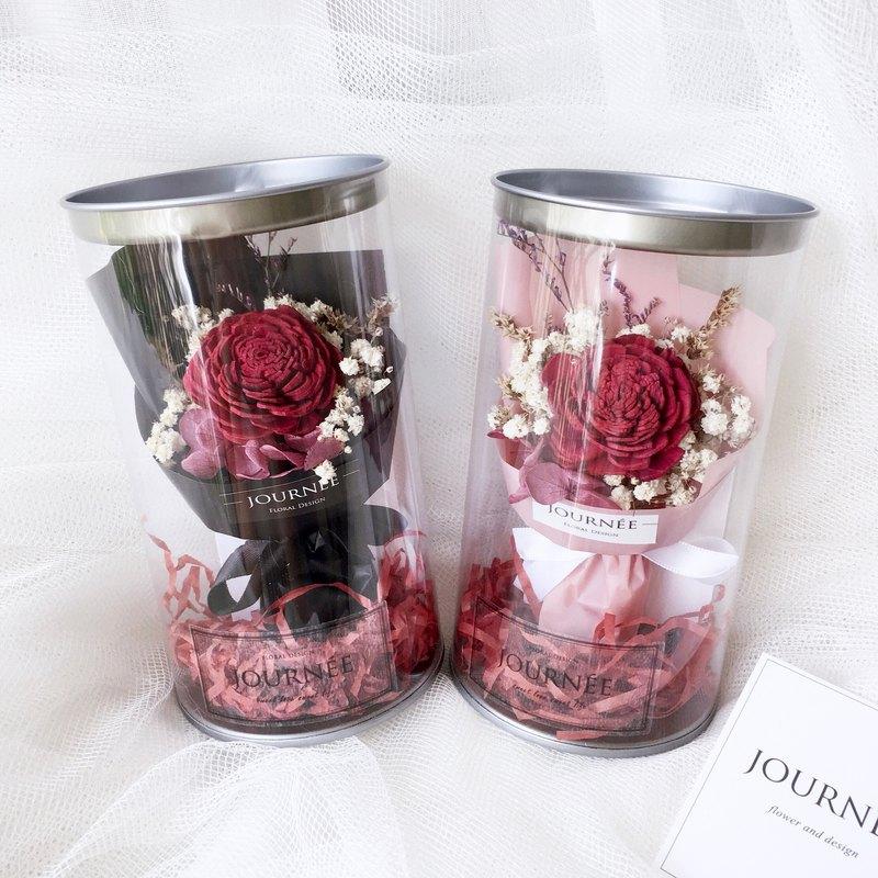 journee 5號小花罐-微醺酒紅香氛 附卡片 /滿天星紅玫瑰乾燥花束