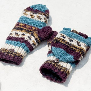 Hand-knitted pure wool knit gloves / detachable gloves / inner bristled gloves / warm gloves - South America