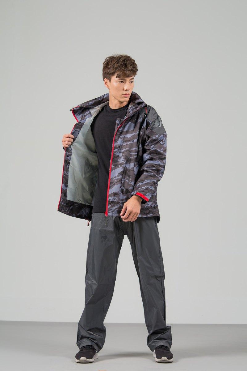 城市遊俠背包款兩件式風雨衣-灰迷彩