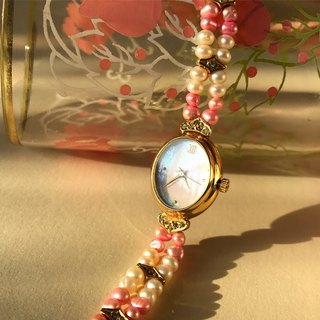 [Lost and find] Fritillaria glare pearl powder white bracelet watch