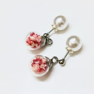 Dry flower glass ball medical steel earrings ear clip [strawberry] Valentine's Day gift