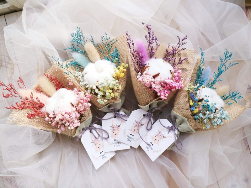 PJ小花園* |兔耳朵棉花小花束 麻布花束| 畢業花束 婚禮小物