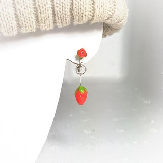 Small strawberry Clip Earrings
