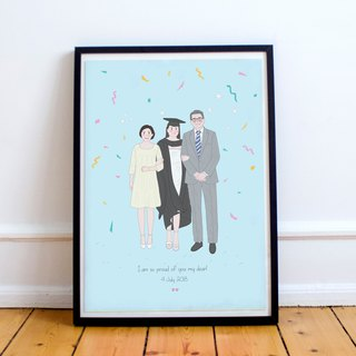 Custom illustraton of Family and Pets