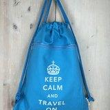 Keep Calm and Travel On 帆布束口背包系列 (天空藍)
