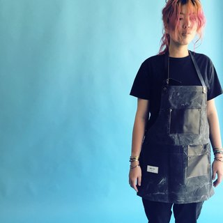 Industrial wind overalls apron pocket (washed black thick section cotton canvas)