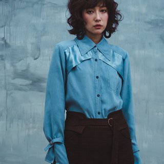 Aqua blue satin suede shirt