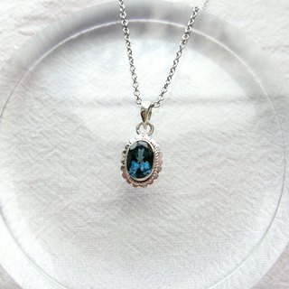 London blue topaz 925 sterling silver simple lace necklace Nepal handmade silverware