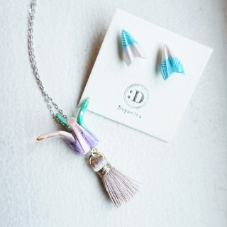Origami Crane Tassel Necklace and Paper Aeroplane Stud Earrings