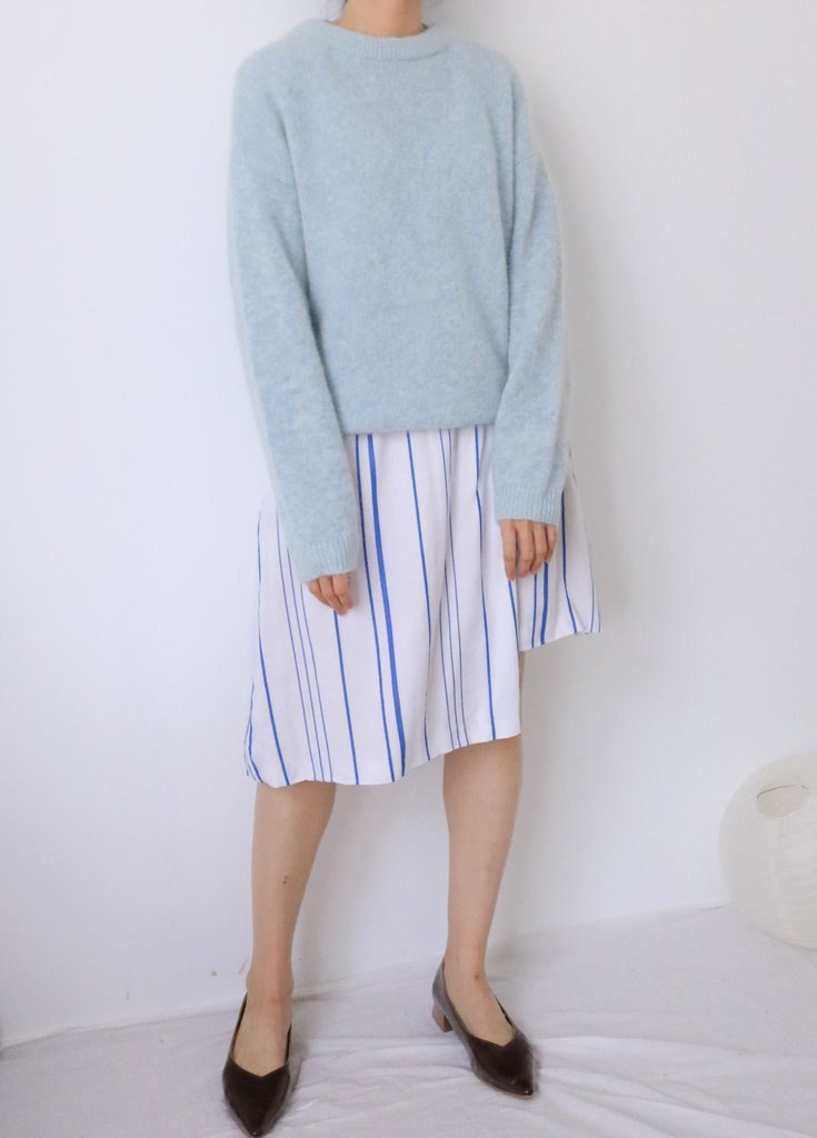Andi Sweater baby blue - Round neck baby light blue mixed mohair loose sweater