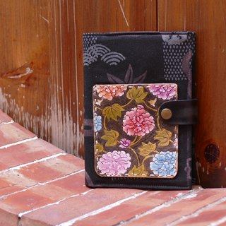 Leather ancient cloth notes account book book clothes - peony (black)