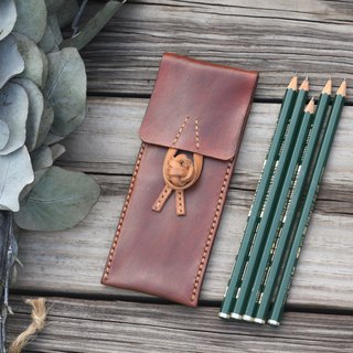 Chinese frog leather pencilcase - brown